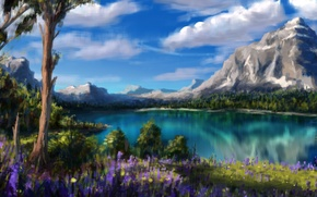Wallpaper clouds, trees, flowers, mountains, nature, lake, art
