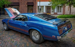 Wallpaper style, blue, Mustang, Ford