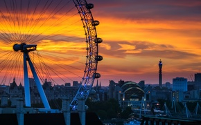 Picture sunset, the city, home, Ferris wheel, London, England, South Bank