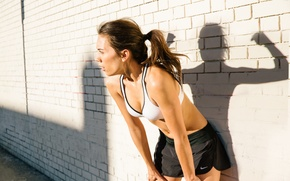 Wallpaper woman, spirit, pose, shadow, sportswear, physical activity, tiredness