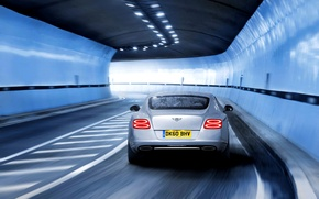 Picture Auto, Bentley, Continental, Road, Grey, The tunnel, In Motion, Russ