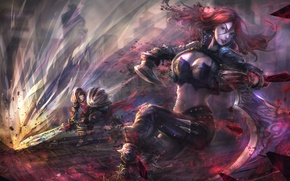 Picture girl, red, art, lol, League of Legends, Katarina, Sinister Blade
