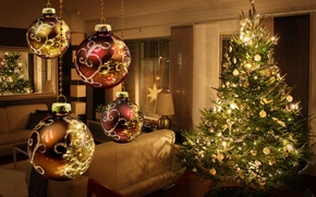 Picture decoration, lights, lights, tree, interior, New year, new year, merry christmas, decor, interior, decoration, christmas ...