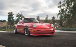 Picture red, porsche, 964, carrera