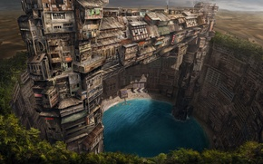 Picture greens, the city, lake, desert, home, oasis, fantasy world, Sands, render