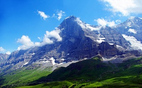 Wallpaper the sky, clouds, Switzerland, Alps, Gora top, The Eiger