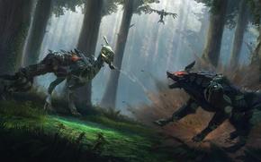 Picture fiction, bird, wolf, robots, Raven, fight