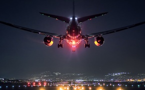 Picture landscape, lights, the plane, Japan, airport, Osaka, Boeing 787