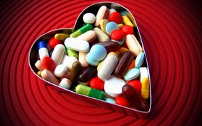 Picture love, heart, pills
