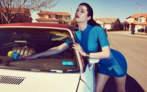 Picture car, hot, sexy, dress, blue, model, chair, lovely, cute, acress, mary elizabeth winstead, chick