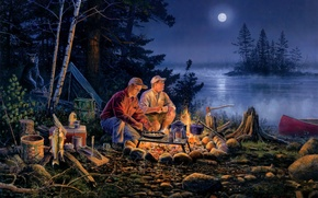 Picture forest, water, night, lake, river, situation, the moon, fishing, bear, the fire, tent, dinner, intruders, …