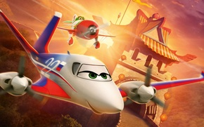 Picture China, animation, Disney, green eyes, rally, trees, aircraft, International, eyes, wings, race, cartoon, Championship, Walt …