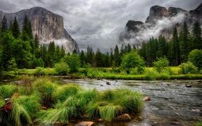 Picture landscape, Merced River, Yosemite Nationa Park