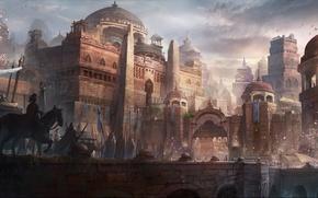 Picture bridge, the city, people, castle, gate, art, rider, the procession