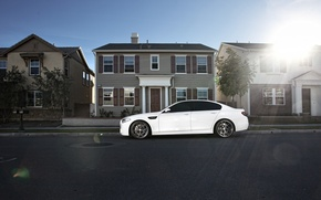 Picture white, house, street, bmw, BMW, profile, white, drives, f10