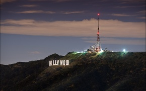 Wallpaper Hollywood, sign, night