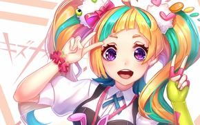 Picture look, girl, anime, art, Kiznaiver
