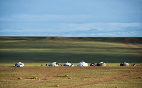Picture the steppe, the horizon line, Mongolia