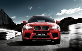 Picture night, red, bmw, speed, jeep, bmw x6
