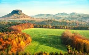 Picture autumn, leaves, trees, landscape, nature, hills, yellow, Germany, orange, Saxon Switzerland, The Elbe Sandstone mountains, …