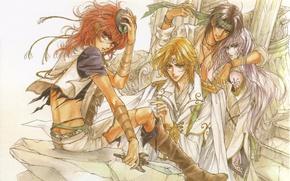 Picture red, stage, dagger, guys, cloak, manga, friends, long hair, art, shoulder straps, manga, Mamiya Oki, …