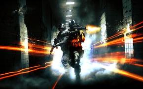 Picture metro, war, corridor, shots, Battlefield 3, Marines, electronic arts, m4a1