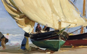 Wallpaper picture, sail, Joaquin Sorolla, Fishing Boat in the Shallows