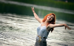 Picture laughter, redhead, in the water, Ira