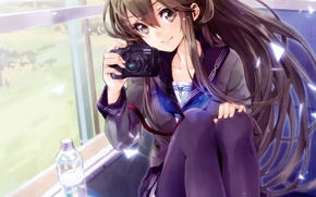 Picture girl, nature, smile, bottle, train, anime, window, art, the camera, schoolgirl, yuugen
