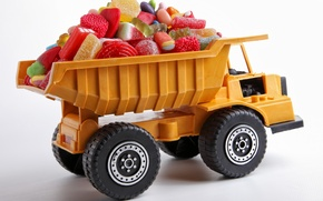 Picture transport, toy, candy, truck, sweets, marmalade