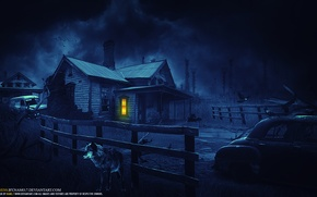 Picture night, the moon, Loneliness, night, the wolf, By Namo
