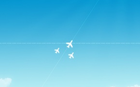 Picture blue, minimalism, Aircraft