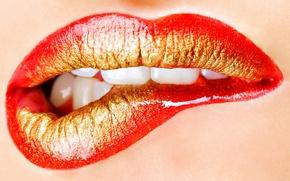 Picture lipstick, lips, teeth