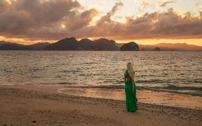 Picture beach, girl, sunset, shore, Inese Stoner
