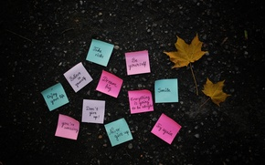Picture autumn, leaves, surface, paper, labels, earth, yellow, the phrase, paper, stickers, maple