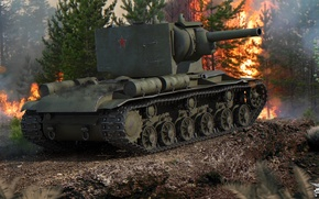 Picture forest, fire, fire, smoke, power, tank, armor, heavy, Soviet, KV-2, World of Tanks
