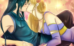 Picture girl, kiss, anime, art, guy, two