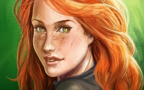 Picture look, girl, background, art, freckles, red, green eyes
