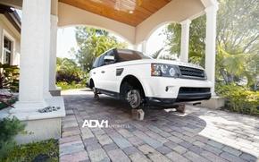 Picture white, white, Land Rover, Range Rover, bolts, on bricks, range Rover, WHEELS, land Rover, ADV …