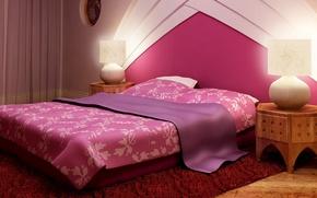 Picture design, carpet, linen, lamp, interior, pillow, blanket, pink, lamp, blanket, bedroom, 1920x1200, stand, sleeping