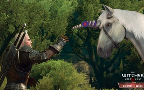 Picture unicorn, the Witcher, Geralt, DLC, The Witcher 3: Wild Hunt, Blood and Wine, Blood and …
