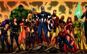 Picture Hulk, Iron Man, Captain America, Thor, Black Widow, Spider-Man, Spider-Woman, She-Hulk, Doctor Strange