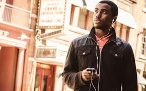 Picture Apple, headphones, smartphone, IPhone, African, nigga