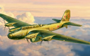 Picture the plane, art, bomber, action, WWII, heavy, Soviet, WW2., far, four-engine, PE-8