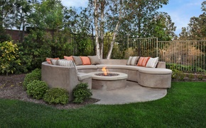Picture grass, trees, design, sofa, fire, flame, lawn, the fence, pillow, garden, the bushes