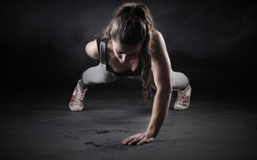 Picture woman, exercise, workout, pushups