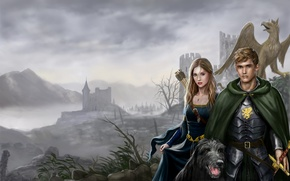Picture girl, castle, dog, art, guy, cloak, arrows, Griffin, Sofia, Harbinger Chronicles