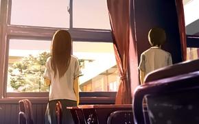 Picture girl, window, art, class, guy, school, loundraw