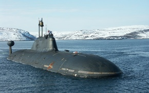 """Picture water, snow, submarine, the flag of St. Andrew, K-154""""tiger"""""""