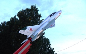 Picture fighter, monument, Leonov, airport, the plane, pedestal, MAC, Kemerovo, Kuzbass, The MIG-21